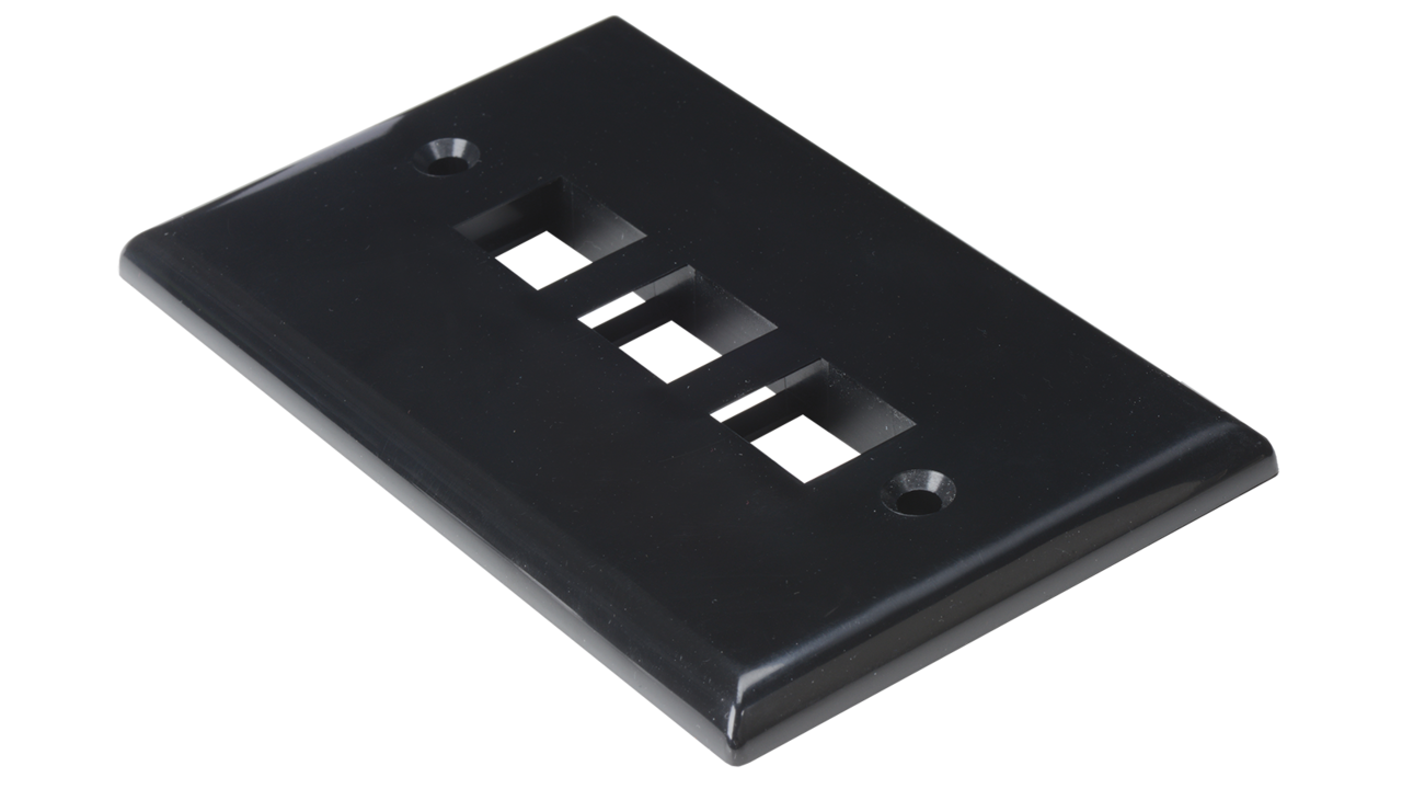 WP-N3-AL - Keystone single gang 3-port smooth faceplate