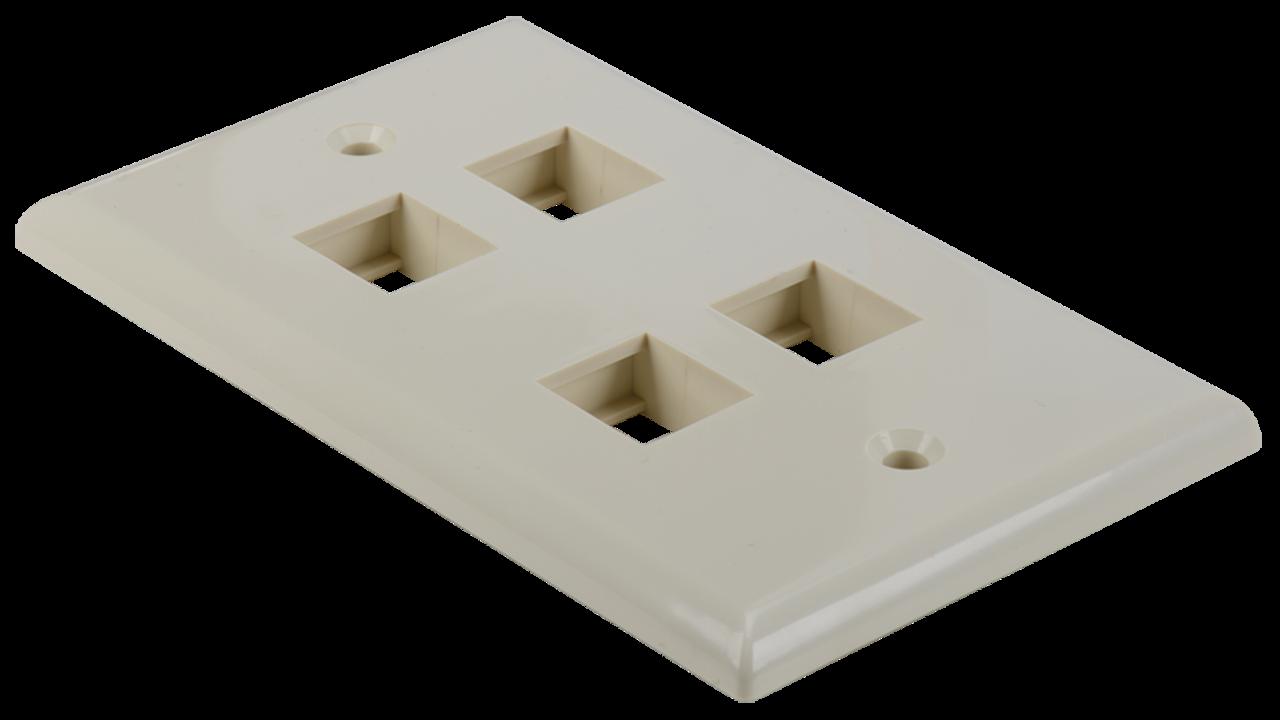 WP-N4-AL - Keystone single gang 4-port smooth faceplate