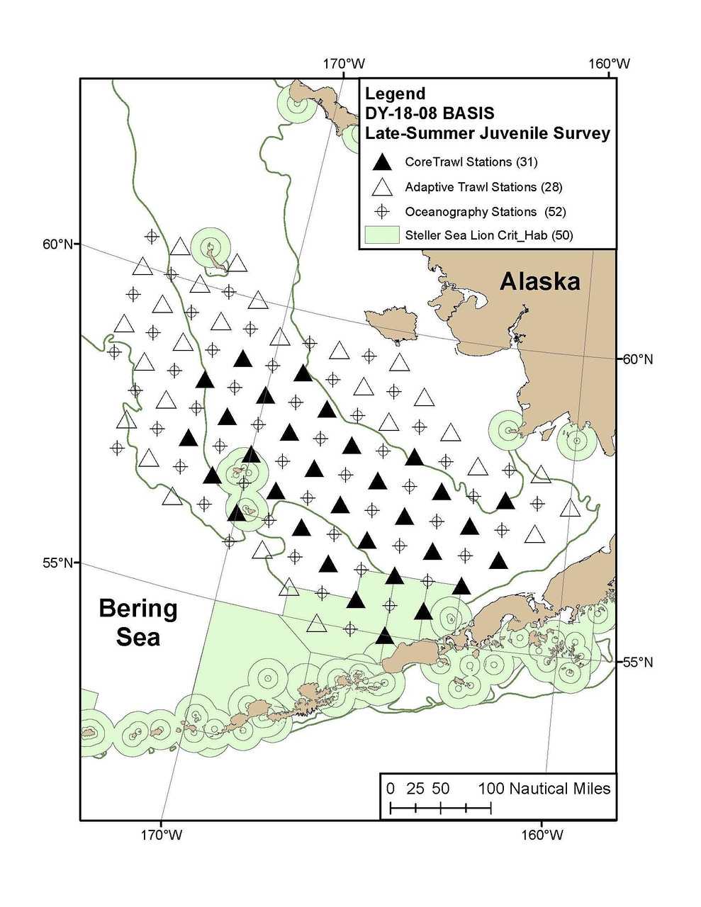 Planned research stations for the eastern Bering Sea BASIS Survey.