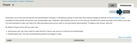 The location of the Roles link in Drupal's administrative interface