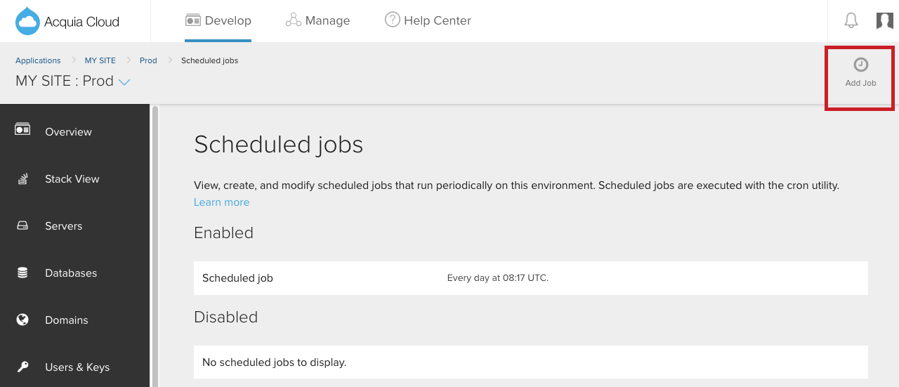 Add a scheduled job image