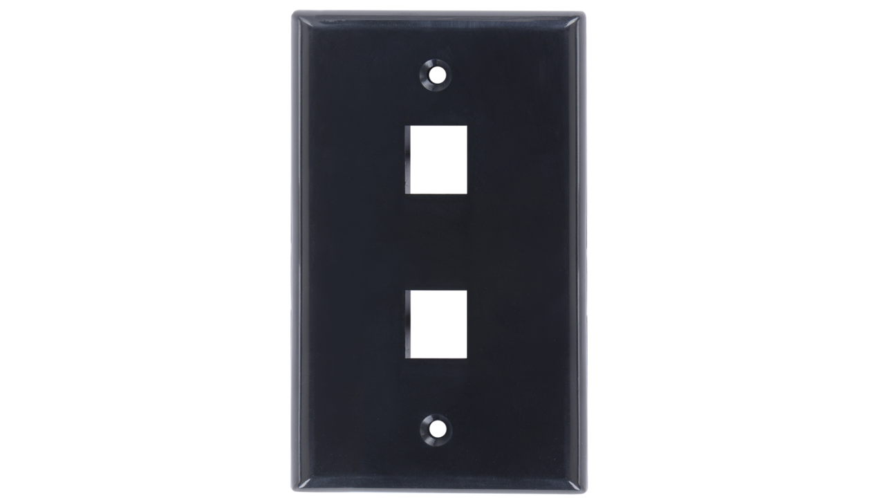 WP-N2-AL - Keystone single gang 2-port smooth faceplate