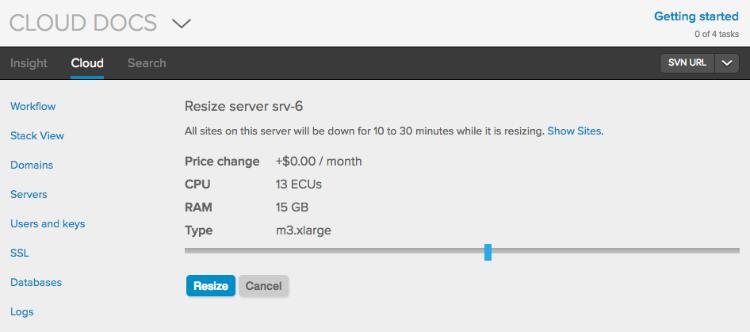 Resizing a server