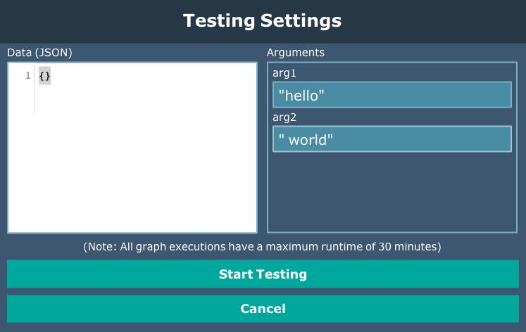 Testing settings