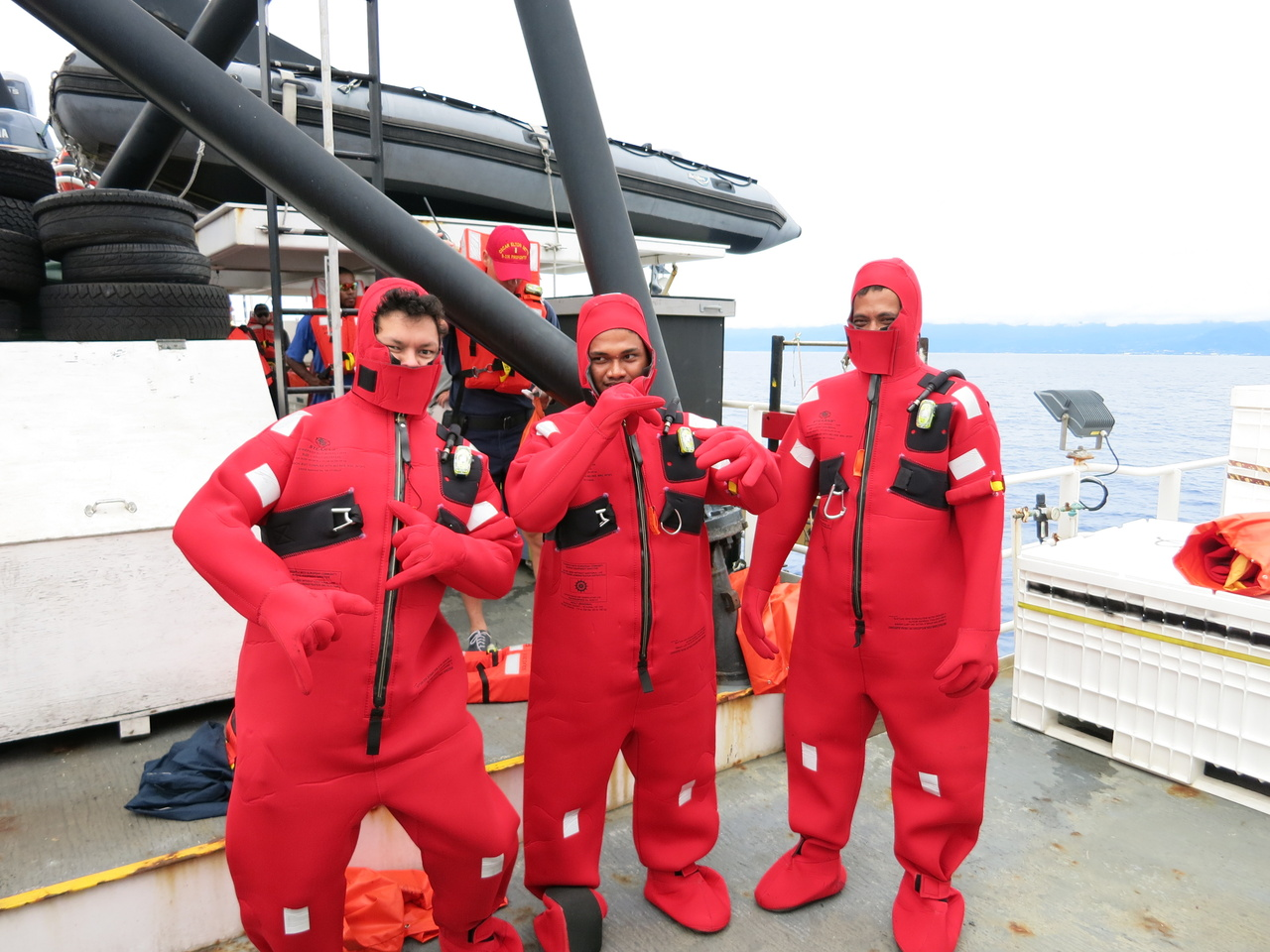 Ministry of Agriculture and Fisheries staff try on survival suits.