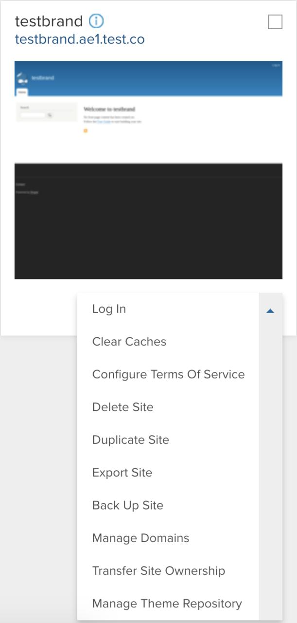 Expanded site actions menu