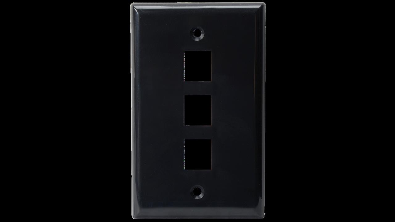 WP-N3-IV - Keystone single gang 3-port smooth faceplate