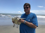 NOAA Galveston's Ben Higgins preparing to release a sea turtle