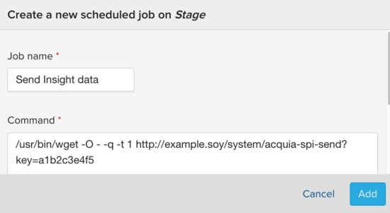 Configuring a cron job in the UI