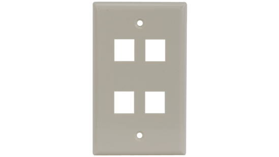 Keystone single gang 4-port smooth faceplate