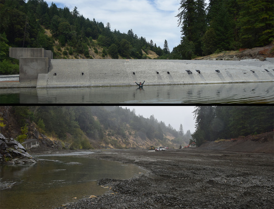 The Benbow Dam, and the Eel River after the dam removal.