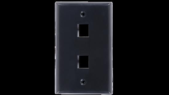 Keystone single gang 2-port smooth faceplate
