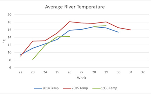 Figure 4. Comparison of average water temperatures between years