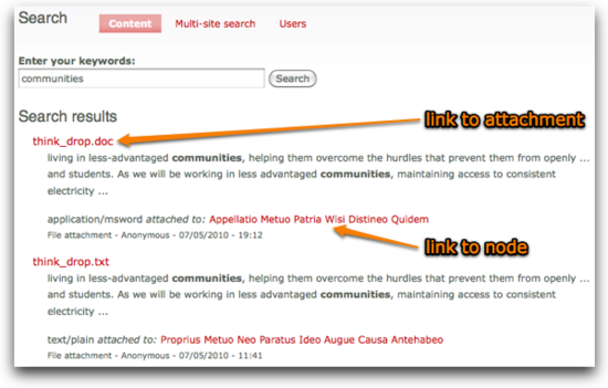 Attachments in search results