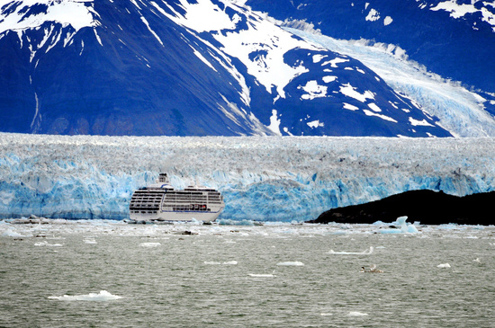 Cruise ship near the Hubbard Glacier in Disenchantment Bay, Alaska